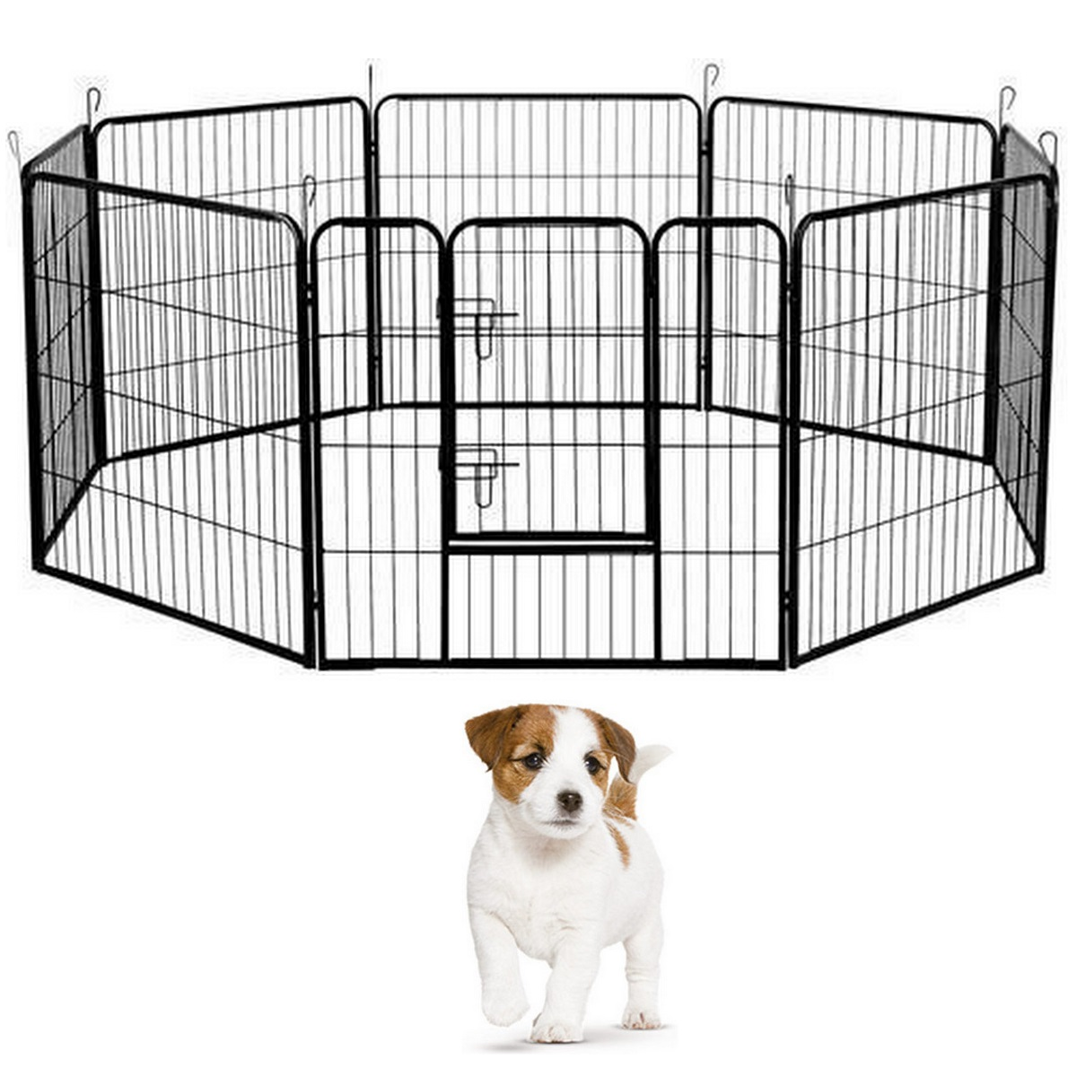 New pet enclosure dog play pen 8 panel puppy large fence for Dog fence enclosure