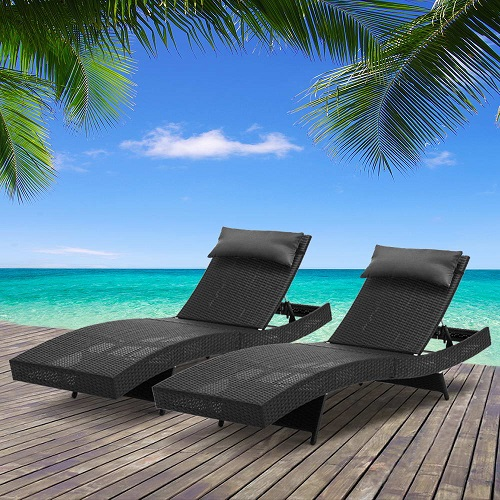 New Wicker Outdoor Sun Lounge Lounger Pool Loungers Rattan