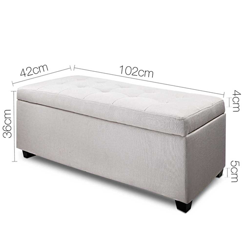 Ottomans Deacon Beige Upholstered Blanket Box: New BED OTTOMAN BLANKET STORAGE BOX Seat Chest Toy Large